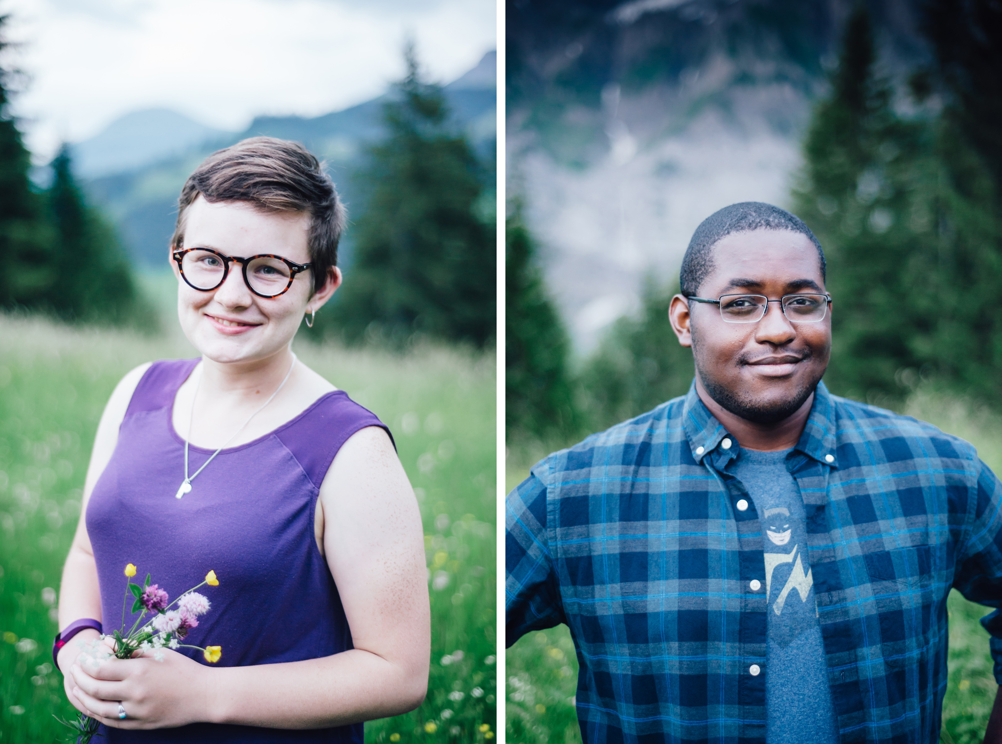 portraits in a field of flowers