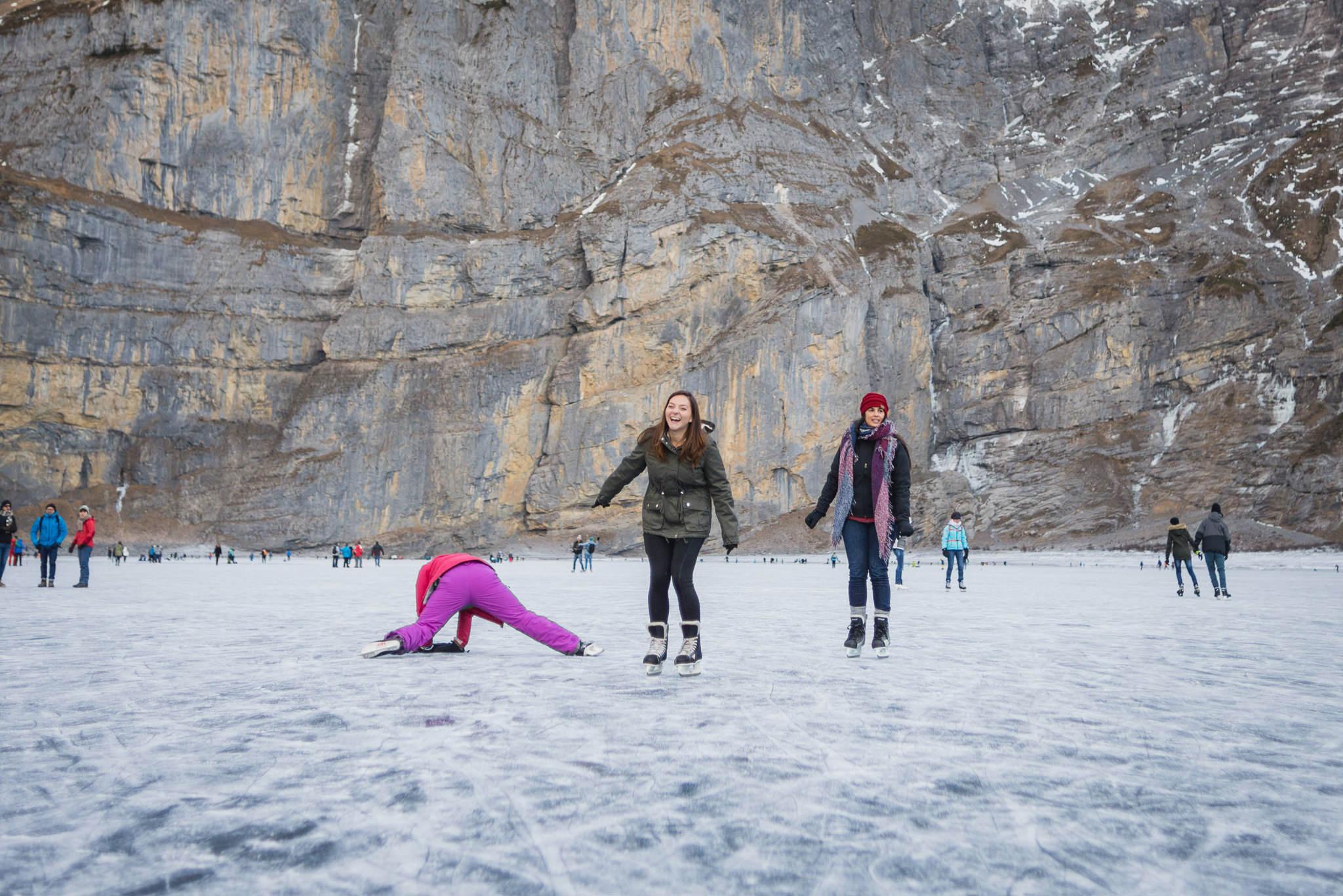 ice skating on lake oeschinensee in switzerland