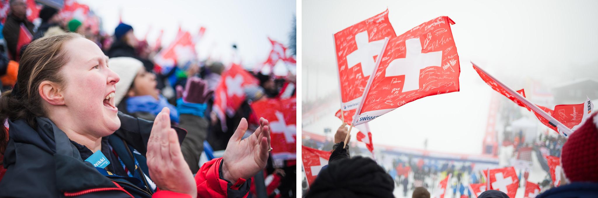 cheering for ski racer dave ryding