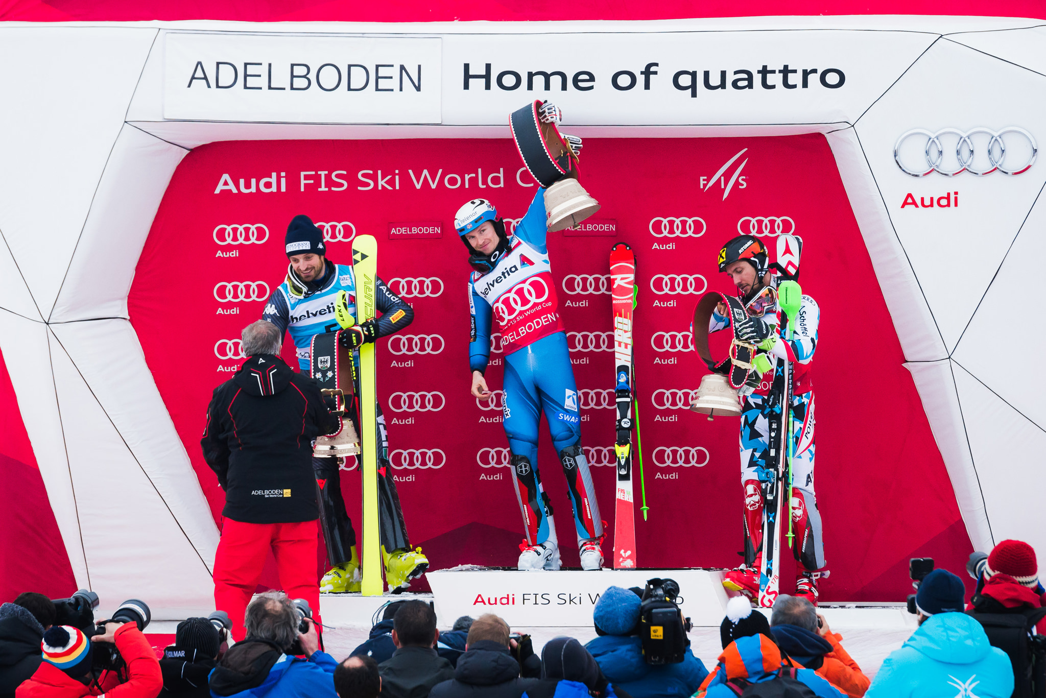 norwegian ski racer henrik kristoffersen on the podium in adelbo