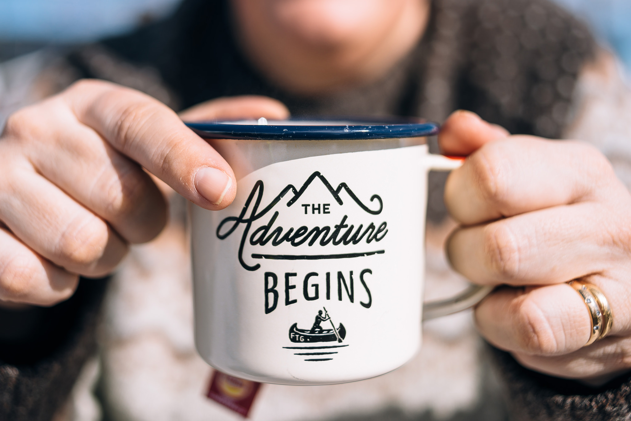 the adventure begins enamel mug