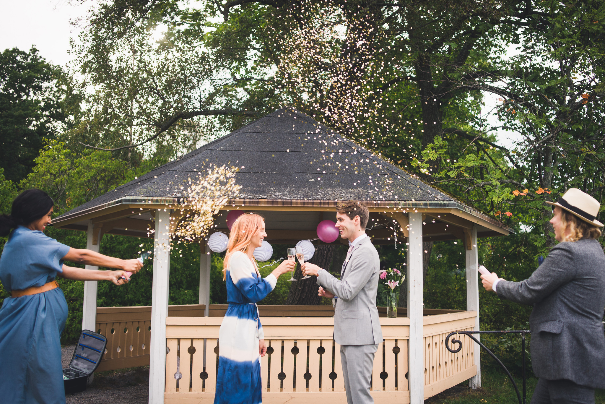 confetti bombs at a small wedding